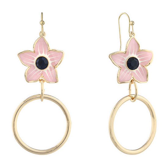 Liz Claiborne Blue Flower Hoop Earrings