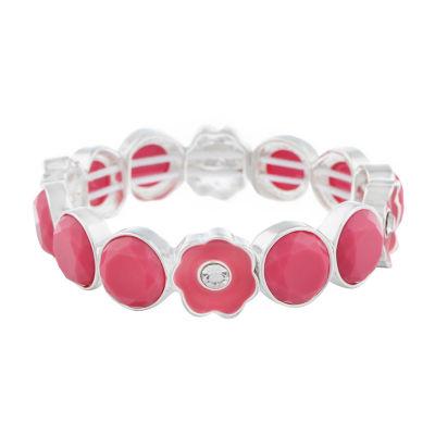 Liz Claiborne Pink Flower Stretch Bracelet