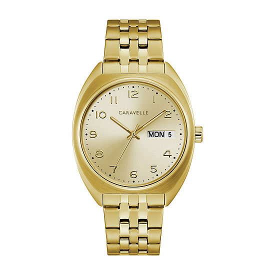 Caravelle Mens Gold Tone Bracelet Watch-44c110
