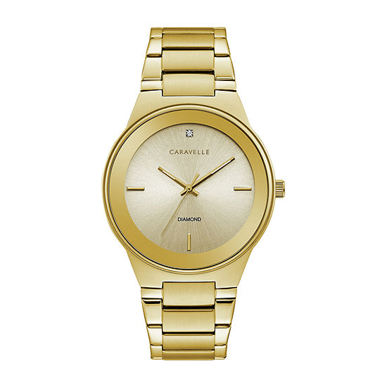 Caravelle Designed By Bulova Mens Gold Tone Stainless Steel Bracelet Watch-44d100