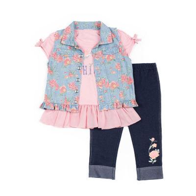 Little Lass 3-pc.Floral Vest Legging Set-Baby Girls