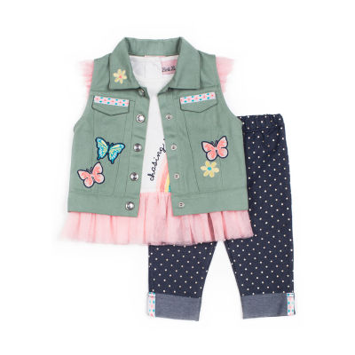Little Lass 3-pc. Embroidery Twill Vest Legging Set-Baby Girls