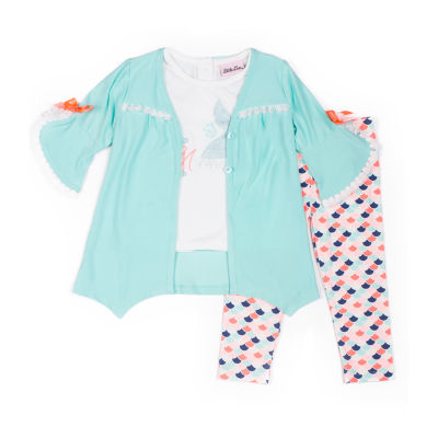 Little Lass 3-pc.Cardigan Ruffle Legging Set-Baby Girls