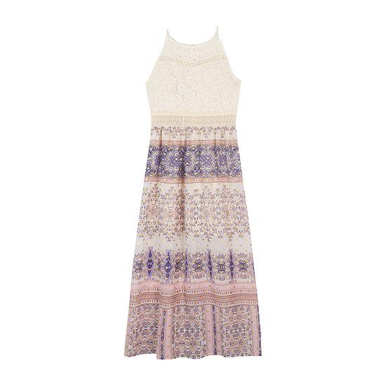 by&by girl Sleeveless Bordered Maxi Dress - Big Kid Girls