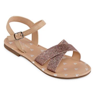 Arizona Big Kids Girls Raisin Adjustable Strap Flat Sandals