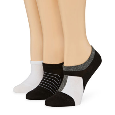 Xersion Skinny Stripe Sneaker 3 Pair Knit Liner Socks - Womens