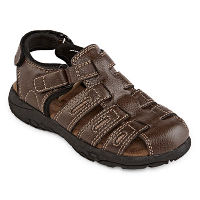 Okie Dokie Toddler Boys Lil Cash Adjustable Strap Flat Sandals