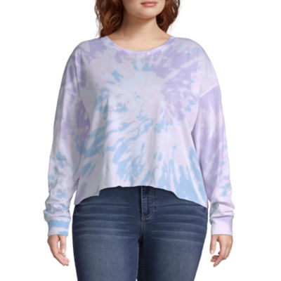 Womens Round Neck Long Sleeve T-Shirt Juniors Plus