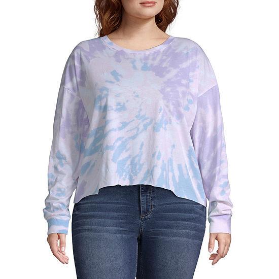 Womens Round Neck Long Sleeve T Shirt Juniors Plus