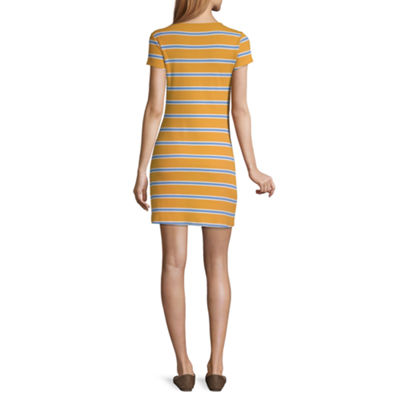 Arizona Short Sleeve Striped Bodycon Dress-Juniors