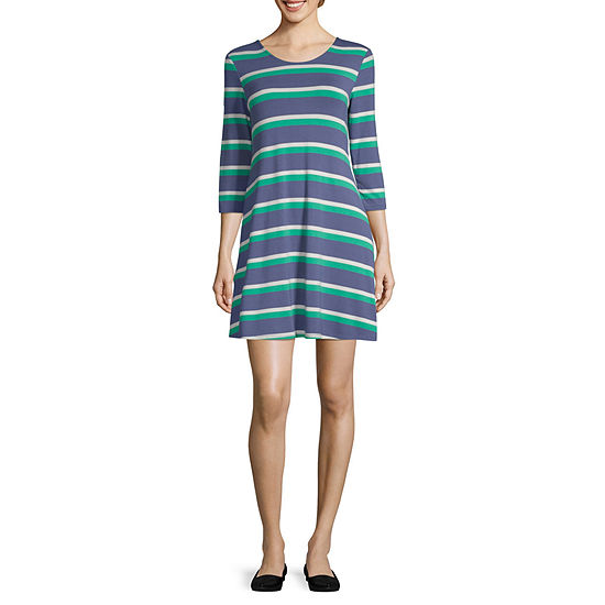 Arizona 3/4 Sleeve Striped T-Shirt Dresses - Juniors