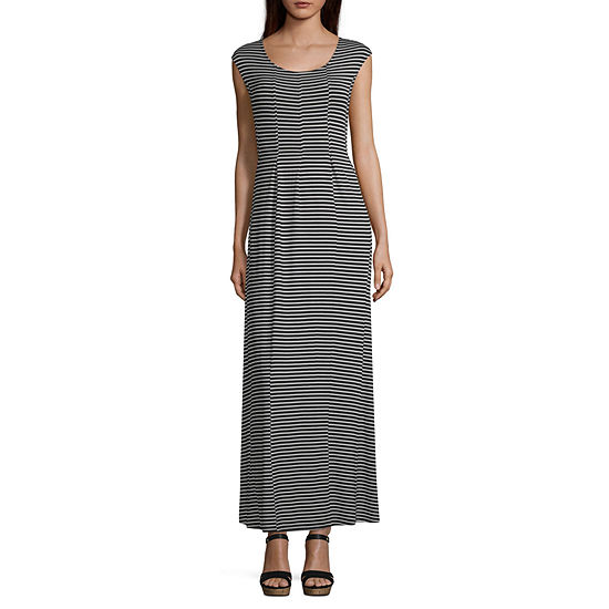 Spense Short Sleeve Striped Maxi Dress
