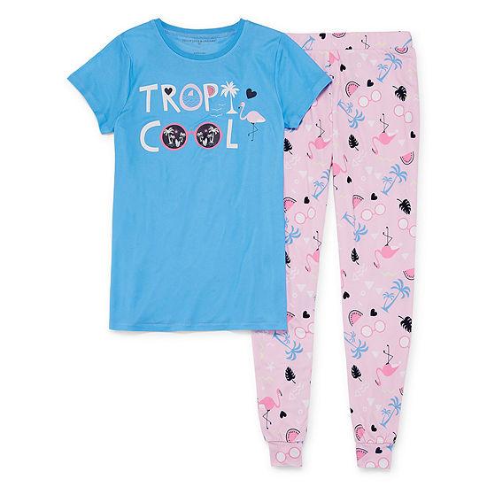 Peace Love And Dreams 2 Pc Pant Pajama Set Big Kid Girls