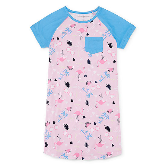 Peace Love And Dreams Girls Nightshirt Short Sleeve Round Neck