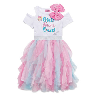 Jojo Siwa Embellished Short Cold Shoulder Sleeve Tutu