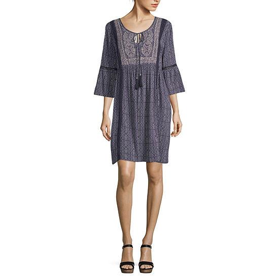 Artesia 3/4 Sleeve Midi Peasant Dress