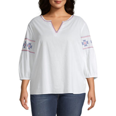 St. John's Bay Embroidered Blouse - Plus
