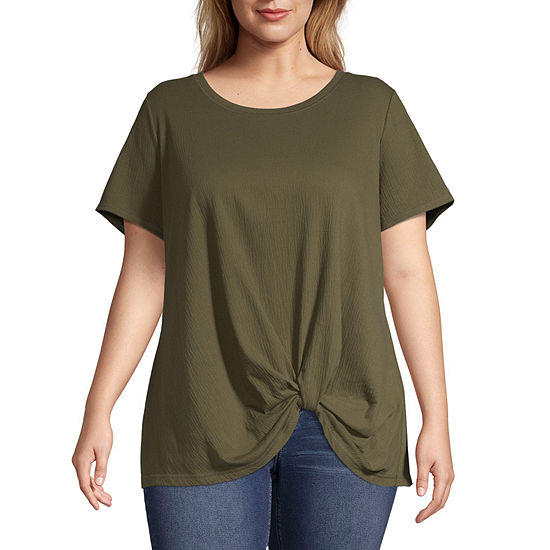 a.n.a-Womens Round Neck Short Sleeve Side Knot T-Shirt Plus