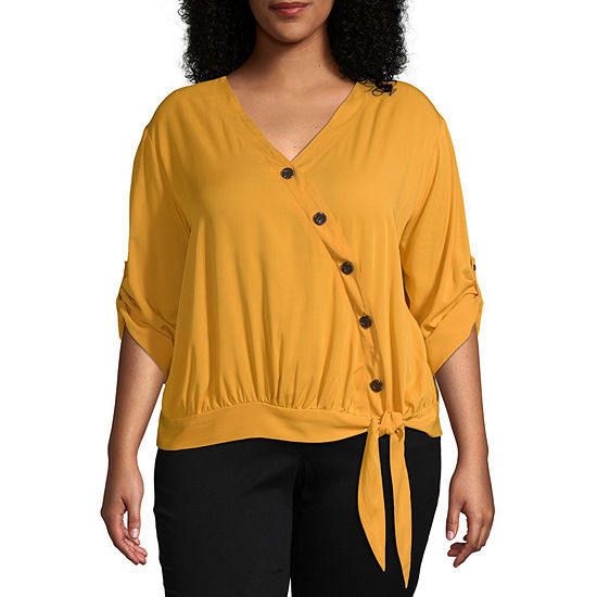 Ana Short Sleeve Side Tie Button Front Blouse Plus