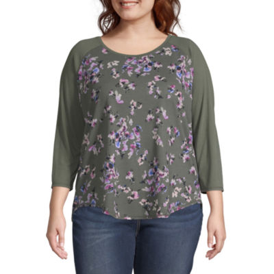 Boutique +-Womens Scoop Neck 3/4 Sleeve T-Shirt Plus