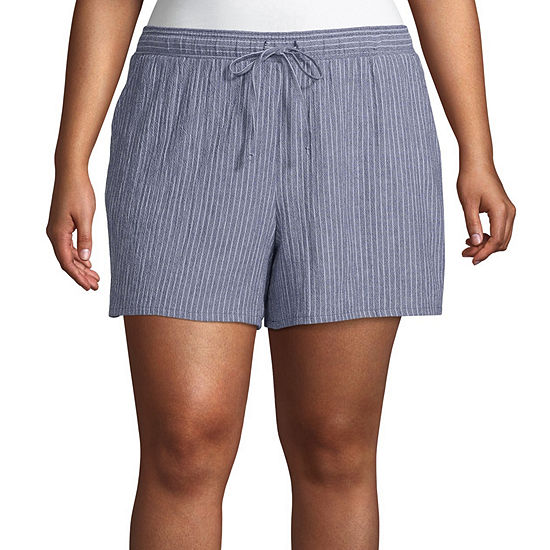 a.n.a Womens Drawstring Waist Soft Short - Plus