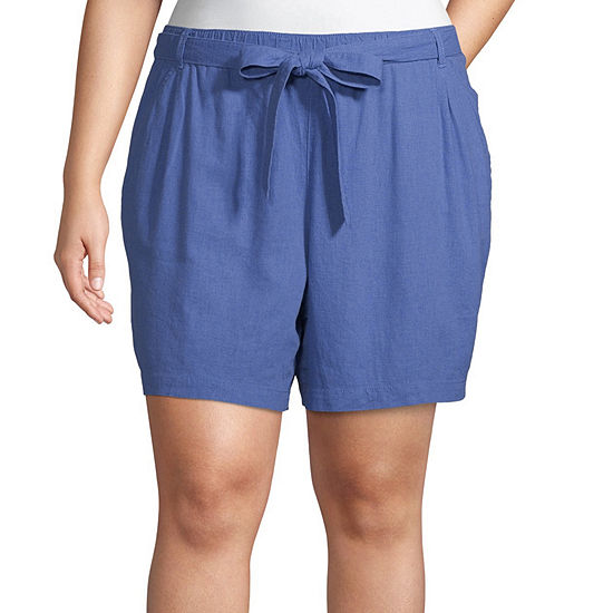 a.n.a Tie Front Paperbag Waist 5in Shorts - Plus