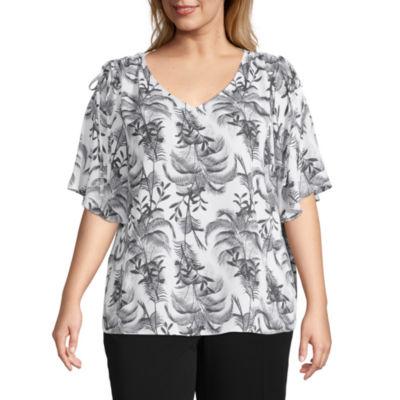 Shirred Shoulder Blouse - Plus