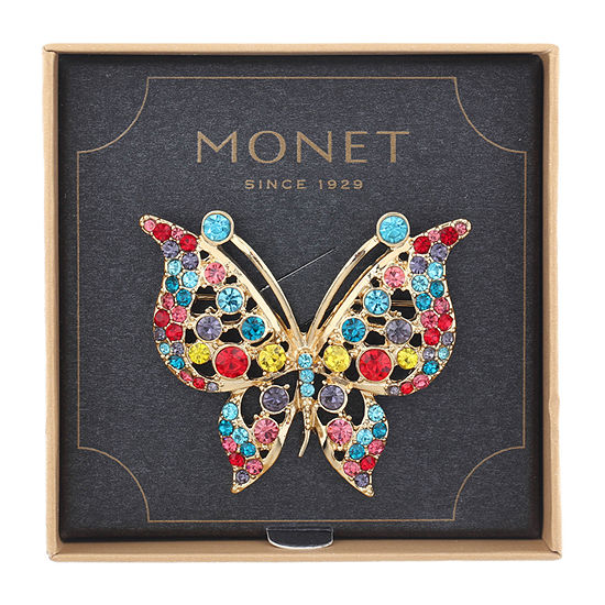 Monet Jewelry Butterfly Multi Color Pin