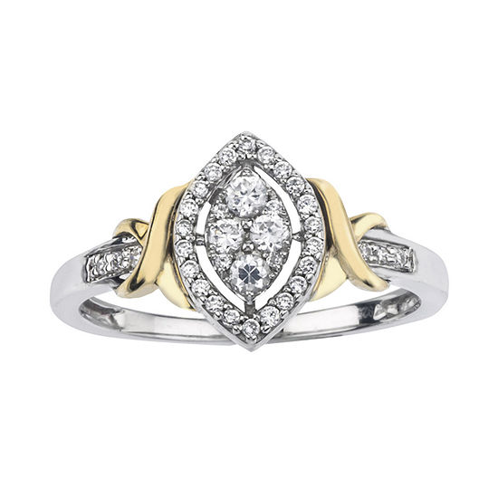 1/4 CT. T.W. Diamond 10K Two-Tone Gold X- Accent Marquise Promise Ring