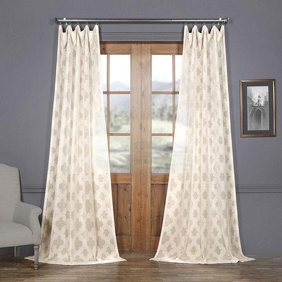 Exclusive Fabrics & Furnishing Calais Tile Faux Linen Sheer Rod-Pocket Curtain Panel