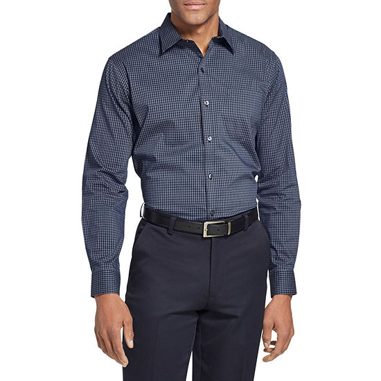 Van Heusen Van Heusen Traveler Long Sleeve Slim Stretch Shirt Mens Long Sleeve Checked Button-Front Shirt Slim