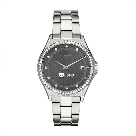 Itouch Connected Unisex Adult Silver Tone Stainless Steel Smart Watch-13887s-51-D28