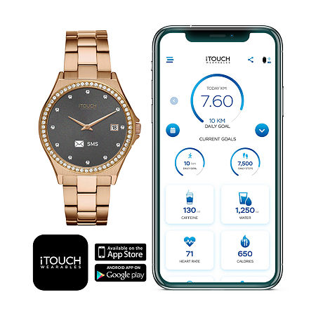 Itouch Connected Unisex Adult Rose Goldtone Stainless Steel Smart Watch-13887r-51-D29, One Size