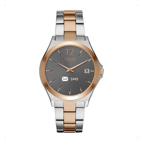Itouch Connected Unisex Adult Silver Tone Stainless Steel Smart Watch-13888s-51-B35