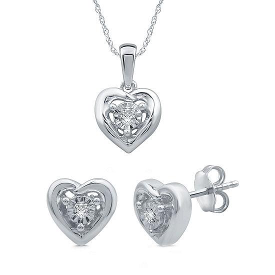 Diamond Accent Genuine White Diamond Sterling Silver Heart 2-pc. Jewelry Set