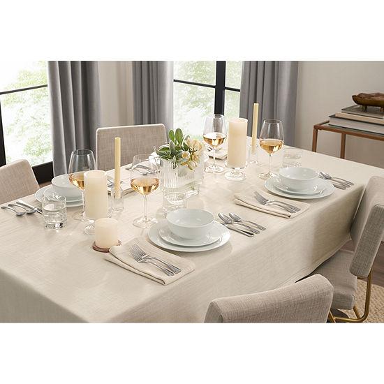 Fieldcrest Luxury Cotton-Linen Herringbone Tablecloth