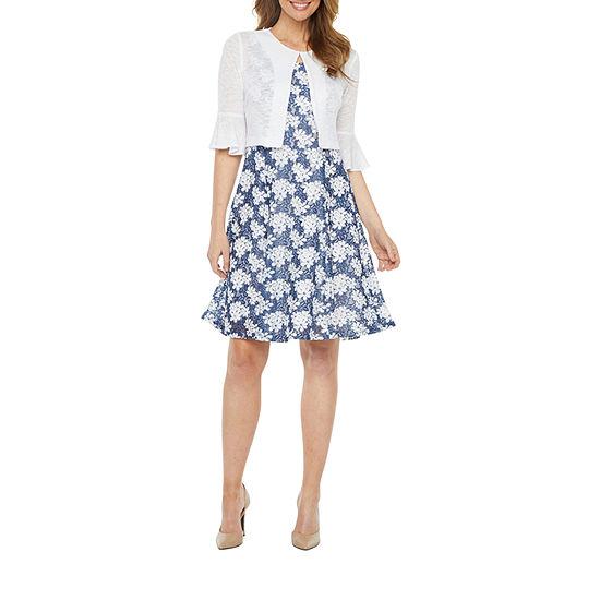 Perceptions-Petite Sleeveless Jacket Dress