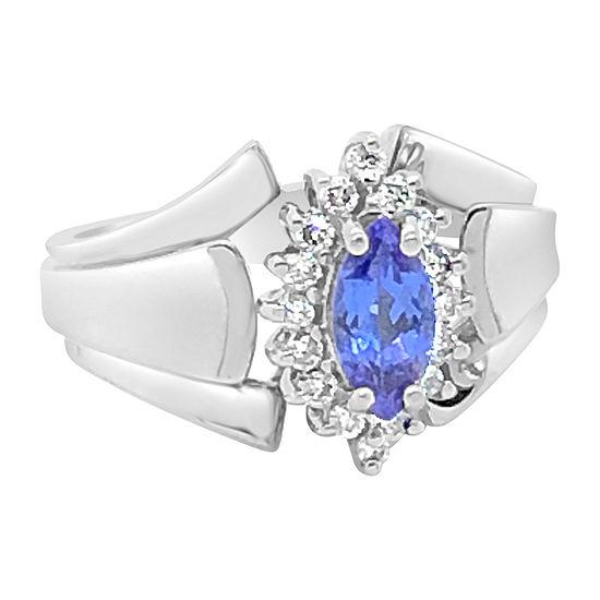 LIMITED QUANTITIES! Le Vian Grand Sample Sale™ Ring featuring Blueberry Tanzanite® Vanilla Diamonds® set in 14K Vanilla Gold®