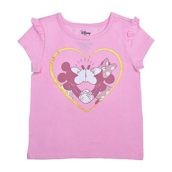 Okie Dokie Toddler Girls Crew Neck Minnie Mouse Short Sleeve Graphic T-Shirt