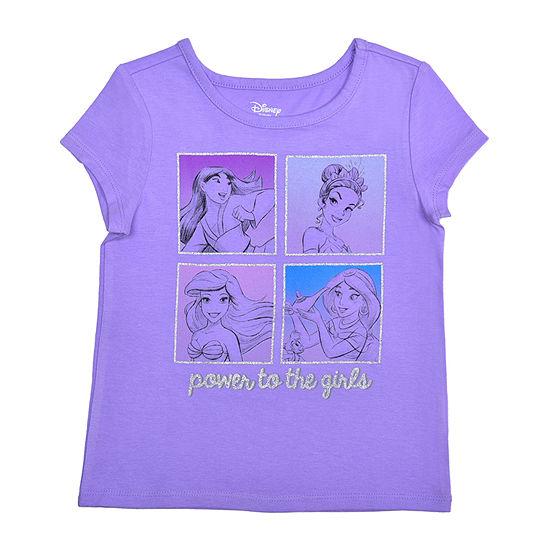 Okie Dokie Toddler Girls Crew Neck Disney Princess Short Sleeve Graphic T-Shirt