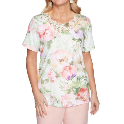 Alfred Dunner Springtime In Paris Womens Crew Neck Short Sleeve T-Shirt