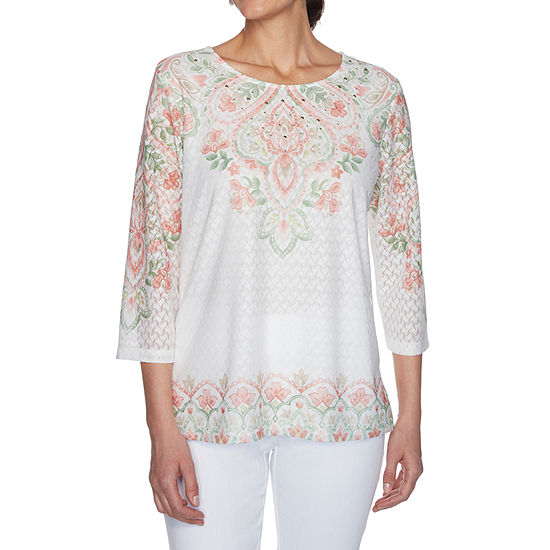 Alfred Dunner Springtime In Paris Womens Crew Neck 3/4 Sleeve T-Shirt