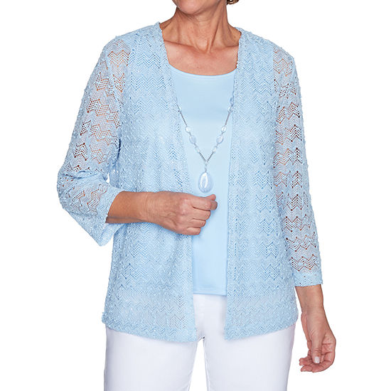 Alfred Dunner Classics Womens Round Neck 3/4 Sleeve Layered Top