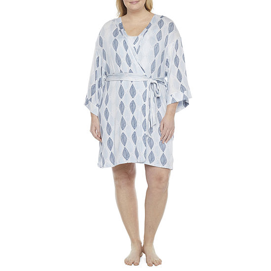 Ambrielle Womens-Plus Kimono Robes 3/4 Sleeve Knee Length