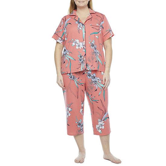 Liz Claiborne Womens-Plus 2-pc. Capri Pajama Set Short Sleeve