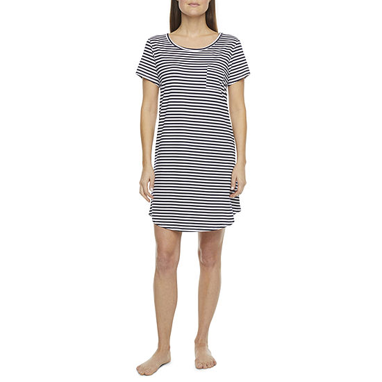Liz Claiborne Womens Short Sleeve Round Neck Nightshirt