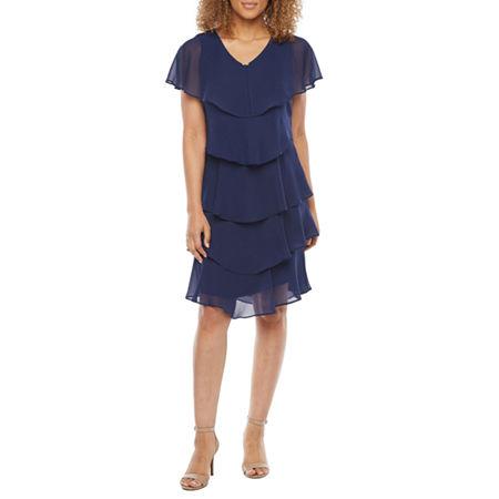 1920s Style Dresses, 20s Dresses S. L. Fashions Short Sleeve Embellished Shift Dress 14  Blue $52.49 AT vintagedancer.com