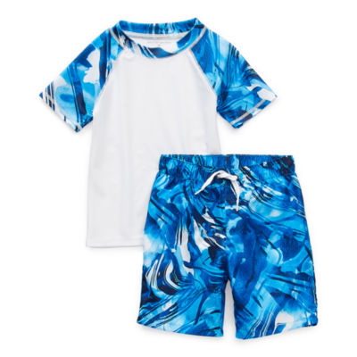 Peyton & Parker Toddler Boys Waves Rash Guard Set