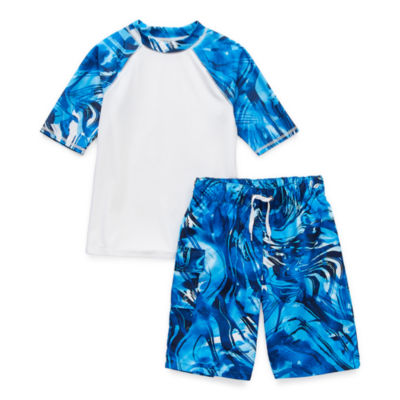 Peyton & Parker Little & Big Boys Waves Rash Guard Set