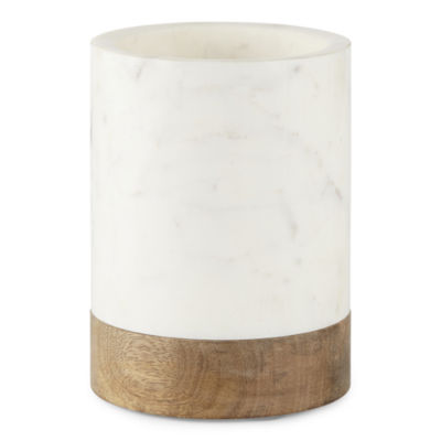 Linden Street Mango Wood & Marble Utensil Holder